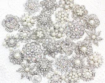 28 pcs Rhinestones Pearl Pin Brooch, DIY Brooch Bouquet Lot, Bridesmaid Gift, Wedding Accessory Embellishment