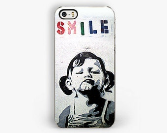 Banksy Smile Girl iPhone Case - Banksy iphone 5 case - Graffiti street art - iphone 4s case - Galaxy cases