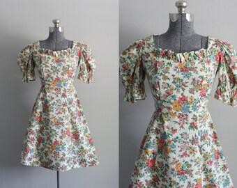 Vintage 1970s Dress / 70s Cotton Dress / Colorful Floral Mini Dress w/ Ruffled Trim S