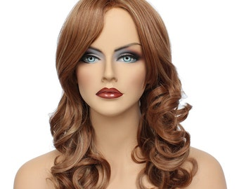 Classic Cap women Synthetic curly wavy Long Light Auburn/Blonde mix wig MI132  SKU: 10B53