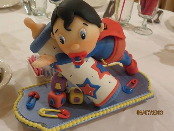 Baby super hero superman cake topper or decoration bebe - Wilton baby shower cake toppers ...