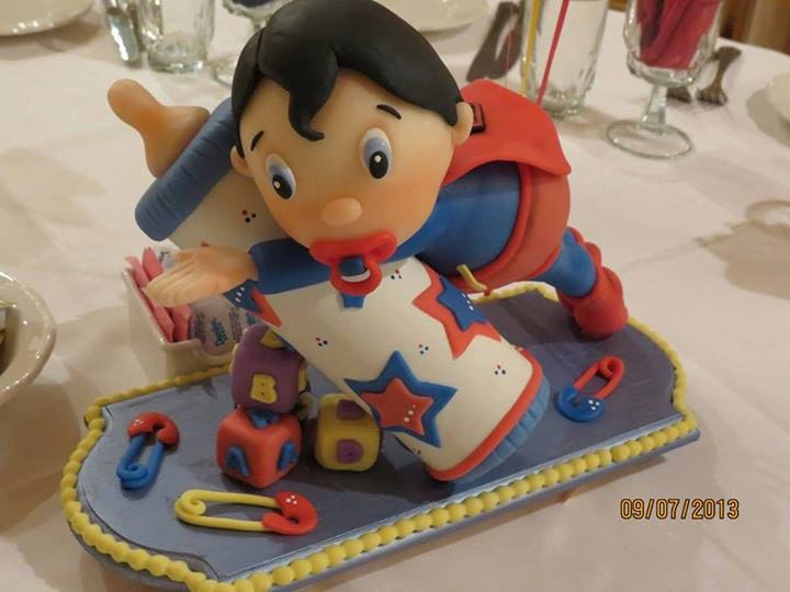 baby super hero superman cake topper or decoration bebe