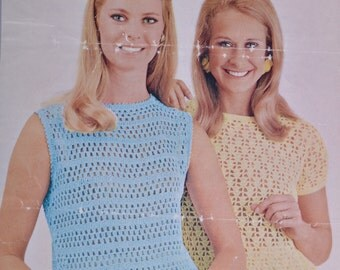 Cute crochet summer tops Vintage crochet pattern pdf download pattern only pdf 1960s