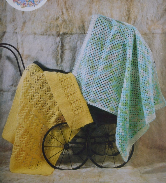 Vintage crochet and knitting pattern pram cover blanket two