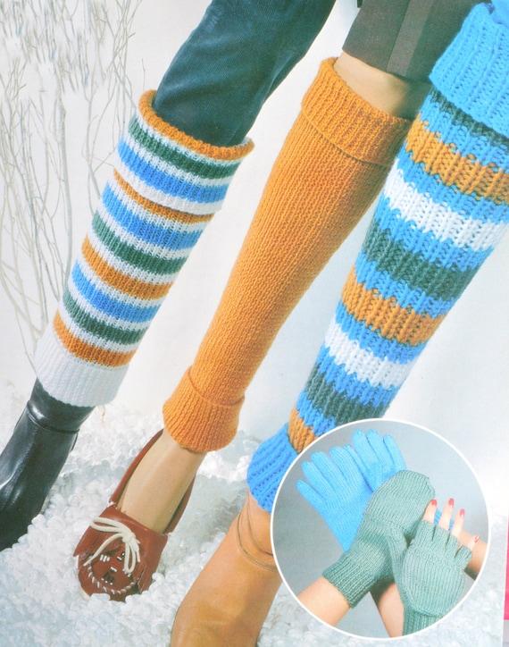 Vintage knitting pattern leg warmers mittens gloves pdf
