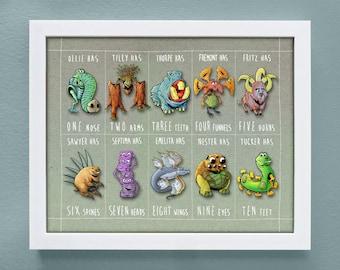 kids monster art, 11 x 14 poster, numbers wall art, custom colors, baby nerd, baby geek, monster drawings, monster nursery