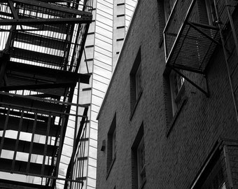Seattle Photography, Alley, Urban, Fire Escape, Architecture, Fine Art Black and White Photography, Wall Art, Home Decor
