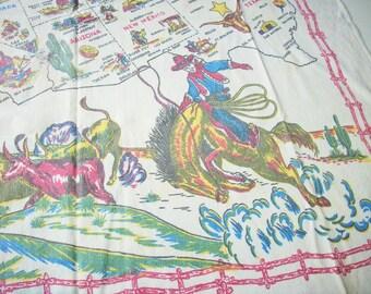 Vintage Souvenir Tablecloth / Yucca Print / 4 color / West of the Mississippi / Large Size / Retro Souvenir