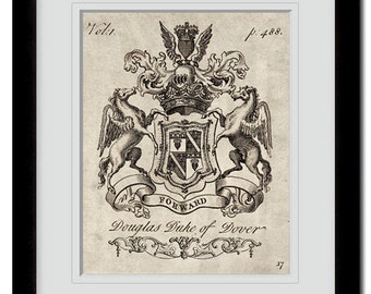 18th century heraldry coat of arms-family crests art print.One of a collection of six art prints. Buy 4 get 2 FREE, buy 3 get 1 free!