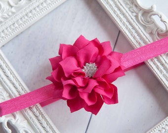 Baby Headband Hot Pink Flower Vintage Headband Shabby Headband Baby Bows girl Headband Hair bow Flower Headband Newborn Headband