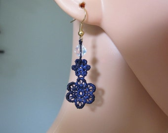Earrings, Pendants, Denim Blue Lace Earrings, Blue Guipure, Denim, Blue Lace, Something Blue, Guipure, Crystal, Special Occasions