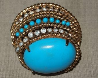Vintage CoroCraft Faux Turquoise Rhinestone Pin Brooch 6459