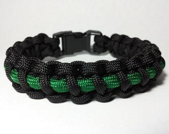 550 Paracord Survival Bracelet - Thin Green Line (Park Rangers/Border Patrol)