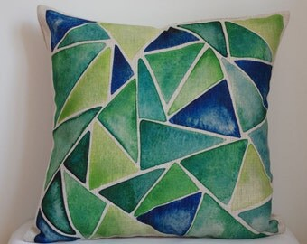 Triangle pattern pillow, green and blue triangle pillow cover,Geometry pillow cover