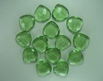 Heart Peridot Briolette Beads