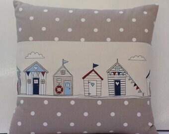 Nautical Pillow Cover/Beach Huts pillow/Dotty/Taupe/Cream/Square/12x12/14x14/16x16/18x18/clarke & clarke/cotton/Handmade sham/Bedroom sham