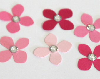 150 Tiny 1 inch pink paper Hydrangea flower rhinestone embellishments for scrapbooking, card making, weddings