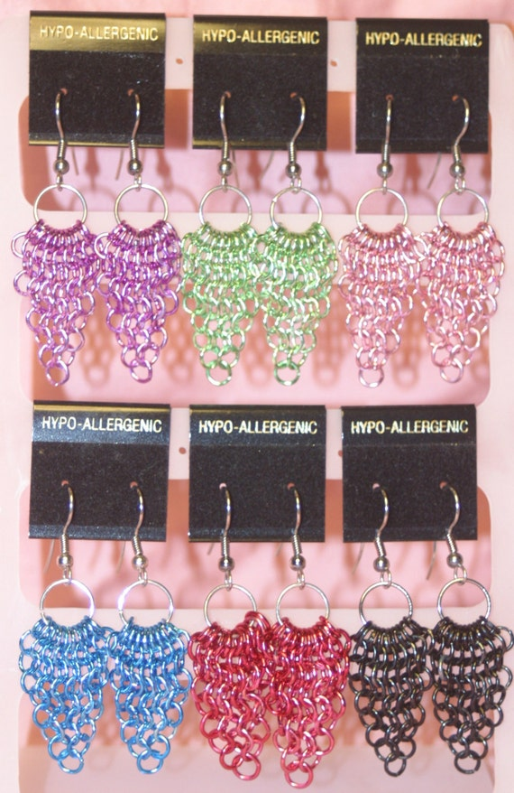 You've Got Mail Colored Chainmaille Earrings