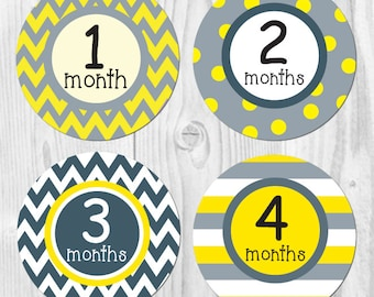 Monthly Baby Stickers for Baby Boy, Gray and Yellow, Baby Boy Month Stickers, First Year Stickers, Monthly Boy Stickers, Baby Month Sticker
