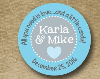 Personalized Wedding Stickers, Custom Wedding Labels, Wedding Favor Stickers, Turquoise, Aqua, Light Blue, Candy Buffet Stickers,
