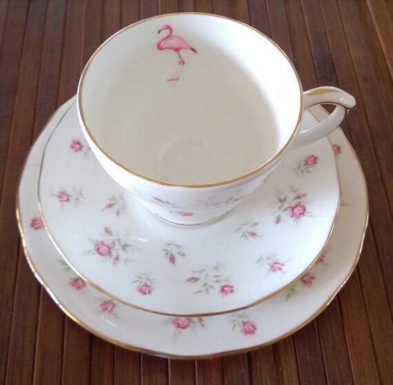 Vintage Flamingo Tea Cup And Saucer Sets
