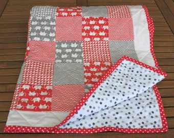 Elephants Modern Patchwork Baby Quilt in Red and Grey