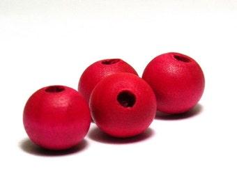 25x Round Wooden Beads 10 mm - Pink