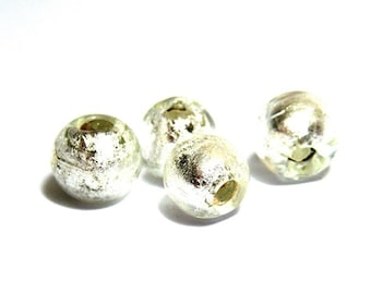 10x Round Silver Foil Glass Beads 8mm - White