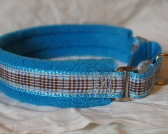 Fleece Lined Martingale Dog Collar - Blueberry Check/Tartan - 35mm width