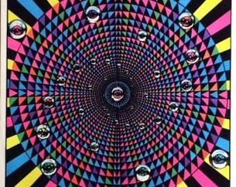 Eyeball Vortex original blacklight poster 1976