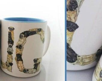 Bridgette Lee's Pug 15oz  Earthenware Mug