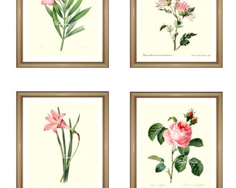 "Pink flowers print Set. Botanical Print Set. ANY 4 pink flower prints. Pink Wall Art Set. Pink Flower print set. 5x7""  8x10"" 11x14"""