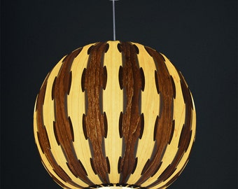 Beautiful Ball Hanging 1-Light Pendant Lamp, made of Maple and Walnut veneer,a beautiful wood lamp for house improvement