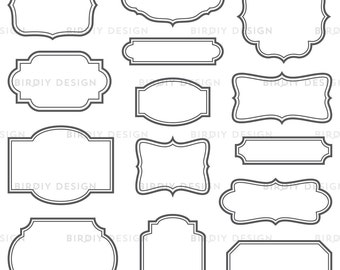 Vintage Frames Clip Art Set - Frames with Solid Lines - Vector EPS and Photoshop Brush - Instant Download - Graphic Design Resources