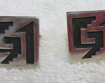 Mexico Sterling Silver Cuff Links   Southwest Design