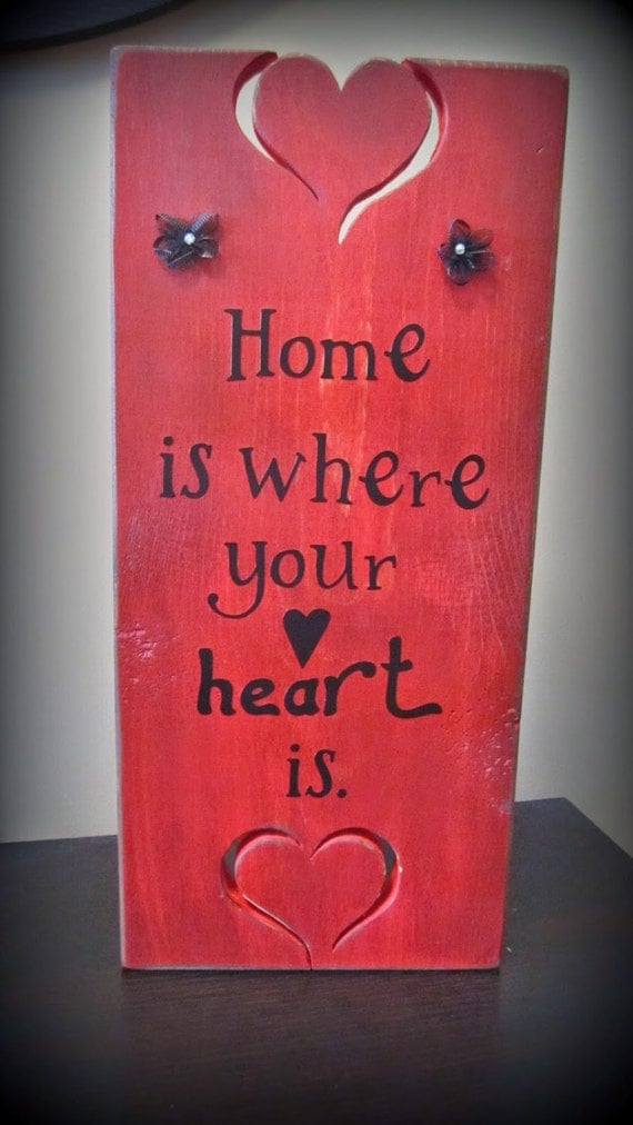 items similar to home is where your heart is wood sign on etsy. Black Bedroom Furniture Sets. Home Design Ideas