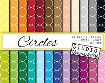 Circles Digital Paper - Commercial Use - 12in x 12in - 24 Colors Quatrefoil Circles Digital Scrapbook Paper - Instant Download Digital