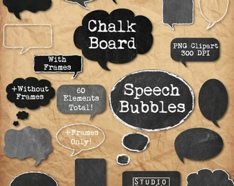 Chalkboard Speech Bubbles Clipart - 20 Chalkboard Thought Bubbles - Commercial Use - Instant Download Digital Chalkboard Speech Bubbles
