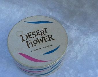 Desert Flower Dusting Powder 4oz Vintage Half Full