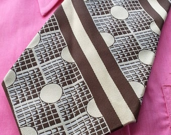Mens Necktie Tie Polka Dot 1970s Vintage