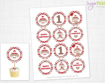 Sock Monkey Cupcake Toppers, 1st Birthday, Sock Monkey Birthday Toppers, Sock Monkey Toppers, Sock Monkey Party Decorations - 2.25 inch