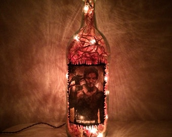 Daryl Dixon walking dead inspired bottle lamp handmade!