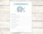 wishes for baby baby shower printable DIY elephants blue grey cute baby boy digital shower games - INSTANT DOWNLOAD