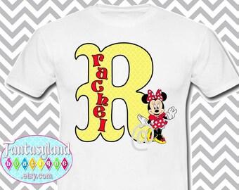 Monogram Iron On Applique, Minnie Mouse Inspired Iron On, Printable Iron On, Tshirt Iron On, Initial, Disney vacation