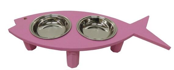 Items similar to Pink Cat feeder. Pet dish. Cat bowls ...