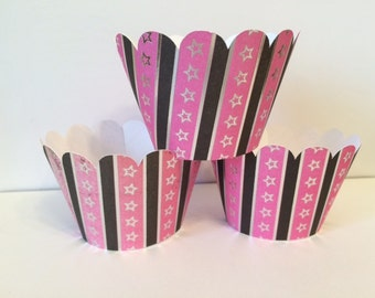 Set of 6 Pink and Black Stars Cupcake Wrappers, party decorations, cupcake holders, party supplies, cupcake wraps, sleeves, paper goods