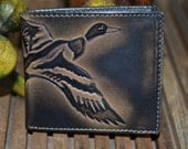 Leather Wallet - Men's Wallet - DUCK Embossed Leather Bifold Wallet