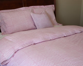 duvet queen/queen duvet set/ pink bedding/ teen bedding/ duvet cover/ handblock printed/ queen duvet cover/ comforter cover/ girls bedding
