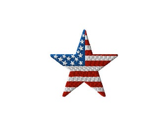 4th of July Patriotic Star Machine Embroidery Design - 2 sizes