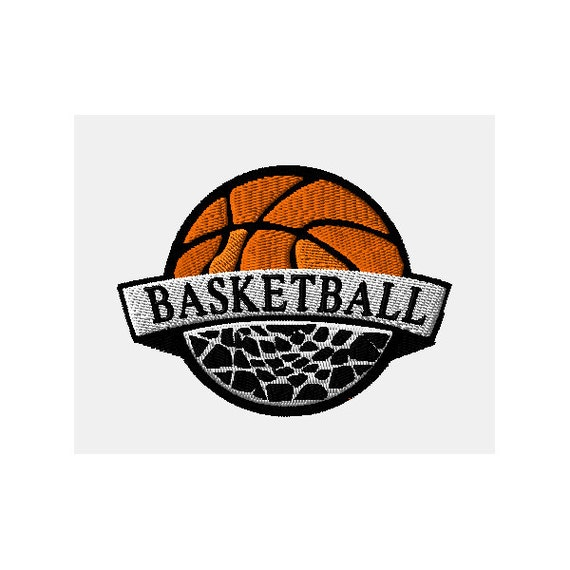 Basketball in hoop machine embroidery design